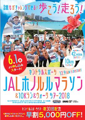 【2018年12月】JALホノルルマラソンツアー募集中!